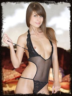 The lovely Mia D in a sheer black teddy lingerie that compliments her long and slender body and feminine appeal.