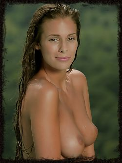 Lia Taylor's oiled and deliciously tanned body, sprawled invitingly on an infinity pool