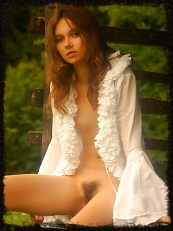 Anna S exhibits her fresh, young body with rosy, pink nipples and lush, untrimmed bush.